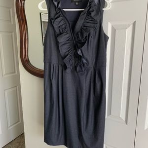 R&M Richards Dark Chambray Ruffle Neck Dress